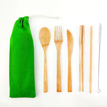 Load image into Gallery viewer, Bamboo Cutlery Set Travel Utensils Biodegradable Wooden Dinnerware Outdoor Portable Flatware Zero Waste Bamboo Tableware Set