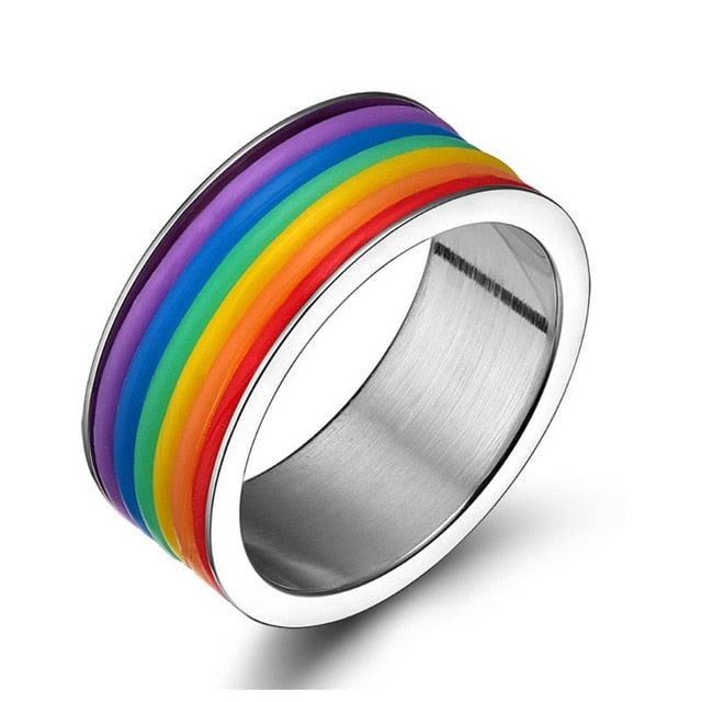Titanium Enamel Rainbow Love Pride Ring Lesbian & Gay Wedding Engagement Band  Ring Jewerly