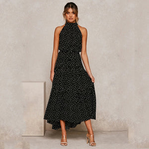 Summer Long Dress Polka Dot Casual Dresses Black Sexy Halter Strapless New 2020 Yellow Sundress Vacation Clothes For Women