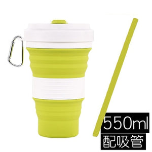 Collapsibl Silicone Coffee Cup with Straw Lid 550ml Folding Mug Leak Proof BPA Free Reusable Portable Water Bottle Travel black