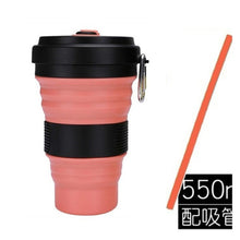 Load image into Gallery viewer, Collapsibl Silicone Coffee Cup with Straw Lid 550ml Folding Mug Leak Proof BPA Free Reusable Portable Water Bottle Travel black