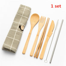 Load image into Gallery viewer, Tableware Set Bamboo Cutlery Set Wood Straw with Travel Cloth Bag Wooden Spoon Fork Knife Dinnerware Set Wholesale