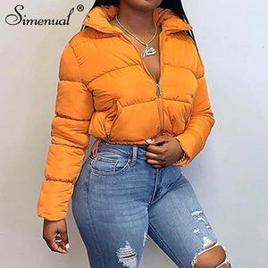 Simenual Warm Autumn Winter 2020 Women Coats Fashion Long Sleeve Zipper Jackets Solid Slim Thick Female Casual Bread Outerwear
