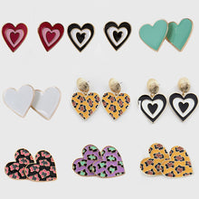 Load image into Gallery viewer, 2020 Fashion Jewelry Female Sexy Cute Statement Earring Eco-friendly Enamel Leopard Solid Love Heart Stud Earings For Women