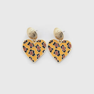 2020 Fashion Jewelry Female Sexy Cute Statement Earring Eco-friendly Enamel Leopard Solid Love Heart Stud Earings For Women