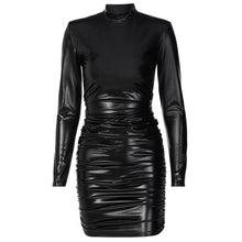 Load image into Gallery viewer, Hawthaw Women Autumn Winter Long Sleeve Pu Leather Black Bodycon Party Club Package Hip Mini Dress 2021 Fall Clothes Streetwear