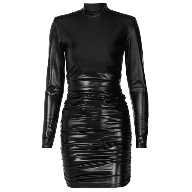 Hawthaw Women Autumn Winter Long Sleeve Pu Leather Black Bodycon Party Club Package Hip Mini Dress 2021 Fall Clothes Streetwear