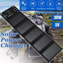Load image into Gallery viewer, 30W 5V Folding Solar Panel Foldable Portable Power Charger For Cell Phone Camping Outdoor