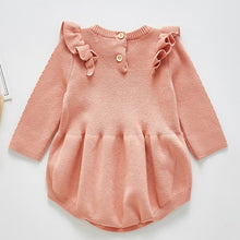 Load image into Gallery viewer, 2021 Newborn Baby Girls Boys Knitted Romper Baby Clothes Cotton Woolen Baby Rompers Ruffle Infant Baby Boys Jumpsuit