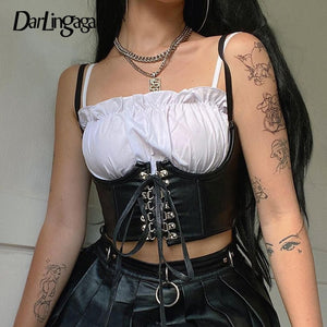 Darlingaga Streetwear Punk PU Leather Crop Top Women Buckle Zipper Gothic Tank Top Suspenders Strap Summer Tops Camisole Clothes