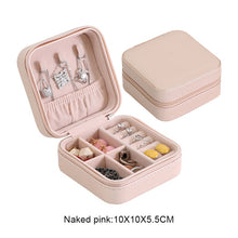 Load image into Gallery viewer, Protable Leather Jewelry Storage Box Earrings Ring Necklace Case Jewel Packaging Travel Cosmetics Beauty Organizer Container Box