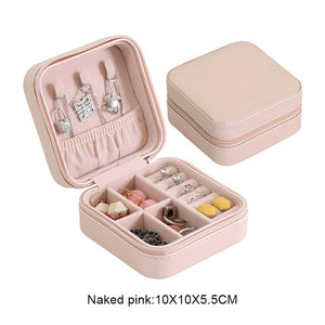 Protable Leather Jewelry Storage Box Earrings Ring Necklace Case Jewel Packaging Travel Cosmetics Beauty Organizer Container Box