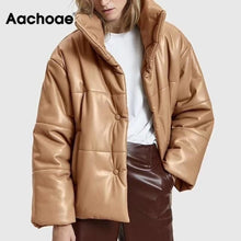 Load image into Gallery viewer, Women PU Leather Parkas Fashion High Street Solid Faxu Leather Coats Elegant Winter Thick Cotton Jackets Loose Outerwear