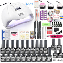 Load image into Gallery viewer, Nail set 120W UV LED LAMP for Manicure Gel nail polish Set Kit Gel Varnish Electric Nail Drill Manicure Sets Nail Art Tools
