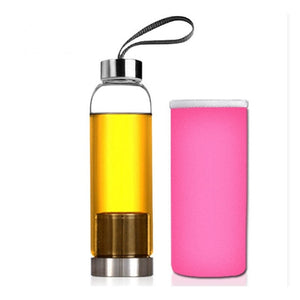 HOT Glass Sport Water Bottle with Tea Filter Infuser Protective Bag 550ml