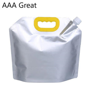 10Pcs/Lot Silver Aluminum Foil Mylar Stand Up Spout Bag Fill Sauce Laundry Detergent Bathing Pouches Sauce Jelly Beverage Bags