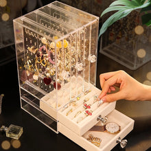 Load image into Gallery viewer, Portable Earrings Ring Display Stand Shelf Dustproof Acrylic Jewelry Storage Box Drawer Women Necklace Bracelet Organizer Case