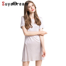Load image into Gallery viewer, Women Full Slips 100%REAL SILK short sleeve slip Solid nude white black Anti emptied dress new underwear Comfortable 2017 New