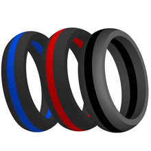Load image into Gallery viewer, 9MM Size 5-15  Silicone Ring Rubber Multi Color Hypoallergenic Crossfit Flexible Ring Band Wedding Engagement Statement Cocktail