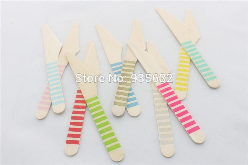 Disposable Wooden Cutlery, Set of 200 Wooden Knives - Eco Friendly,Biodegradable, Compostable, 100% Natural Wood Utensils