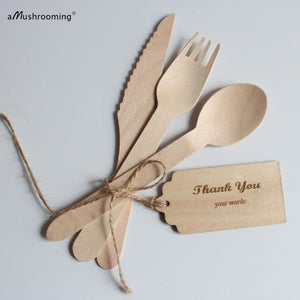 Organic Cutlery| Wooden Disposable Cutlery Set- Eco-Friendly, Biodegradable, Compostable Cutlery| Party Supplies