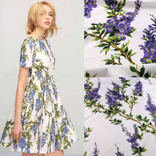 Load image into Gallery viewer, flowers printed fabric,100% cotton fabric for women children clothing,purple flowers Cotton Fabric for Dress Sewing DIY material