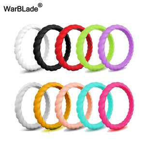 WarBLade 10pcs/set Fashion Silicone Ring Hypoallergenic Crossfit Flexible Rubber Finger Ring Men Women Engagement Wedding Rings