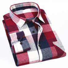 Load image into Gallery viewer, Men's Long Sleeve Flannel Plaid Shirt 100% Cotton Spring Festival Autumn Soft Comfortable Men Social Shirt Retro Casual clothing