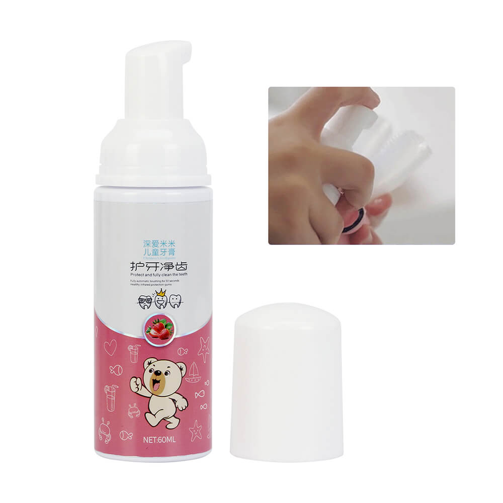60ml Children Liquid Toothpaste Tooth Whitening Foam Strawberry Flavor for 360 Degrees Kids Toothbrush Natural Mouth Wash Water