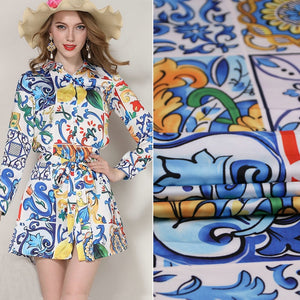 polyester satin fabric,colorful majolica printed imitate silk satin clothing DIY patch,women holiday dress tissu au metre