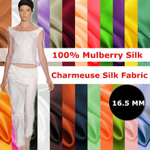 Load image into Gallery viewer, New 100% Mulberry Stain Silk Fabric Width 114cm 16.5 Momme High Quality For Wedding DIY Dress Clothing Bedding