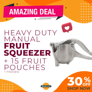 Heavy Duty Manual Fruit Squeezer with free 10 pcs of Fruit Mesh Pouches