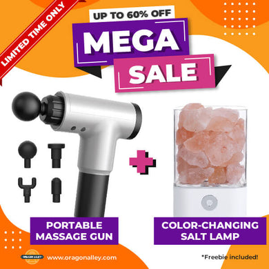 Portable Massage Gun + Color-changing Salt Lamp + FREEBIE
