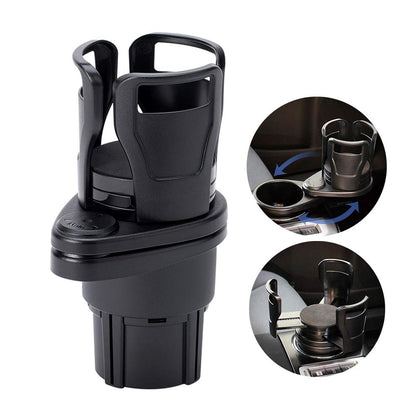 Car Cup Holder Expander Adapter, 2 in 1 Multifunctional 2 Cup Mount Extender with 360° Rotating Adjustable Base