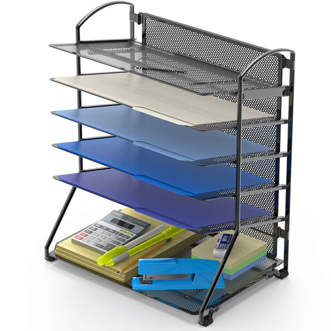 Document Tray Organizer-Black-6 Trays