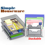 Stackable Document Tray-Silver-3 Trays