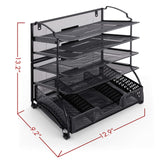 Desk Organizer-Black-5 Trays