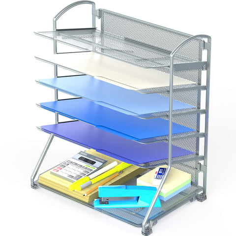 Document Tray Organizer-Silver-6 Trays