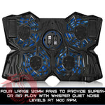 Gaming Laptop Cooling Pad-Blue-4 Fans