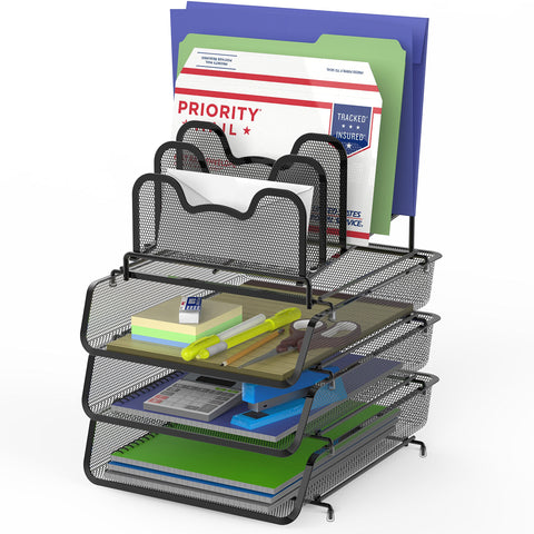 Stackable Document Tray-Black-3 Trays