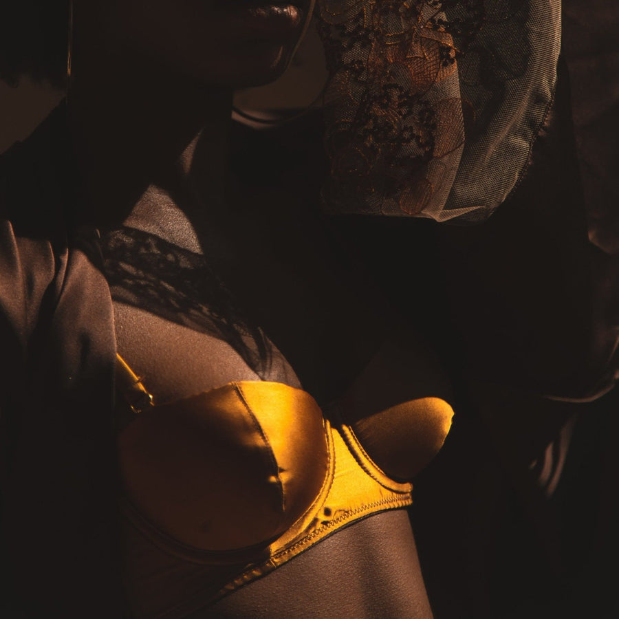 Oshun Gold Silk Balconette Bra_model 2_side_Ihuoma