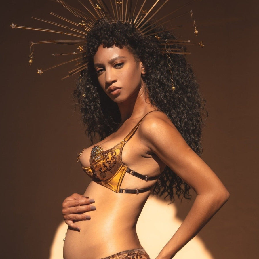 Oshun Gold Silk Embroidery Quarter Cup_model 1_side - Ihuoma