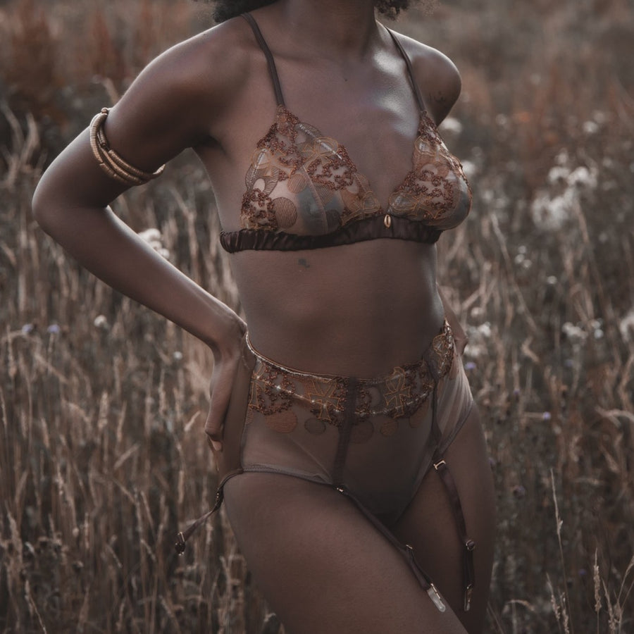 Divine Feminine Embroidered High Waist Brief with DF Bralette_campaign_model 2_front_Ihuoma