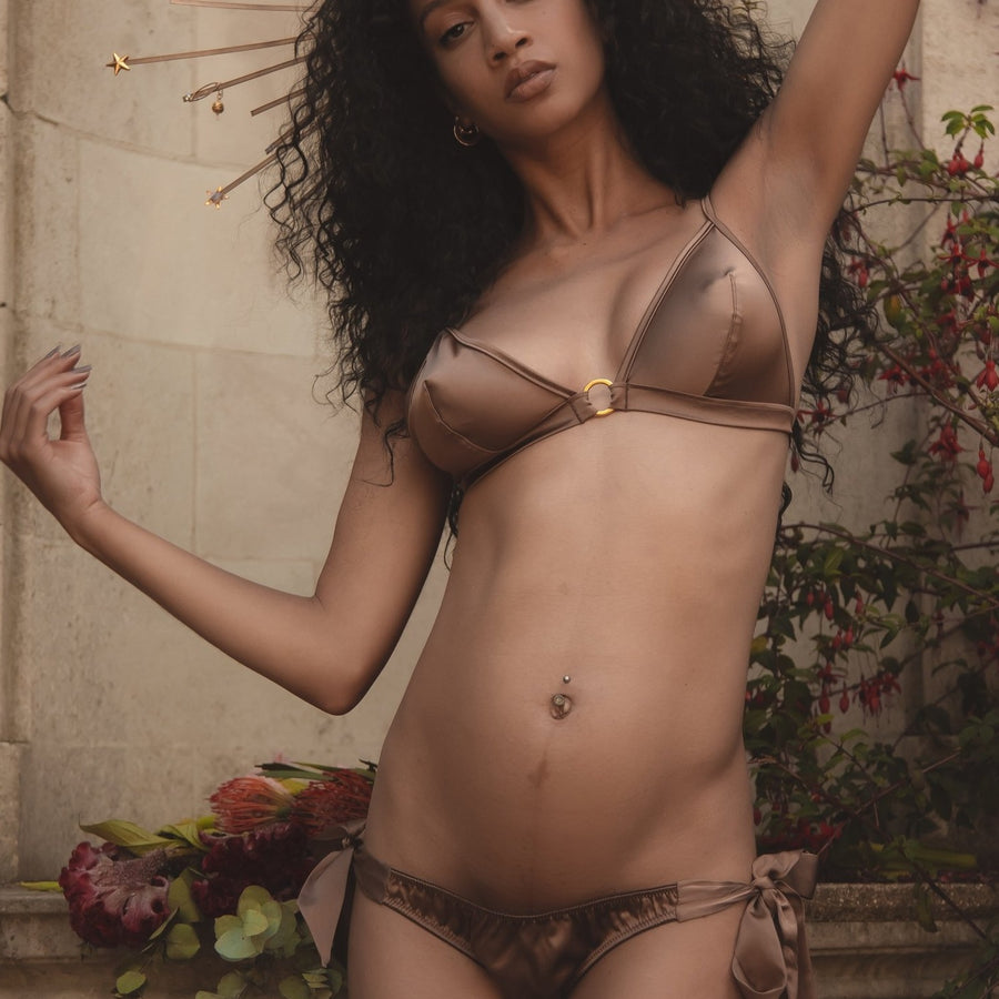 Ma'at Bronze Silk Side Tie Knicker & Ma'at boudoir Bralette_campaign_model 1_front_Ihuoma
