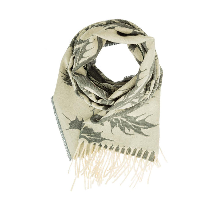 100% Wool Thistle Scarf Cream/Grey