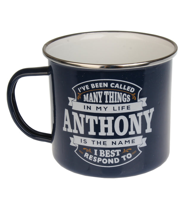 Enamel Personalised Camping Style Mug Anthony