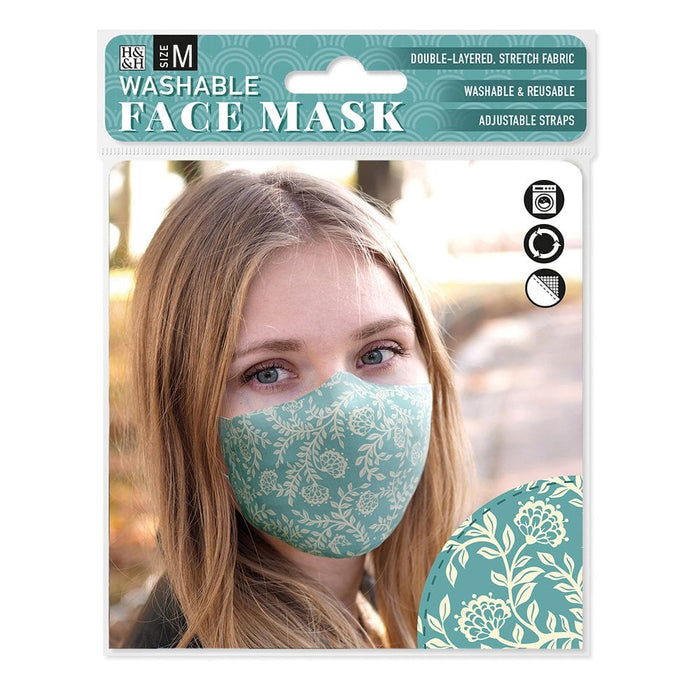 Face Masks Vintage Floral Teal