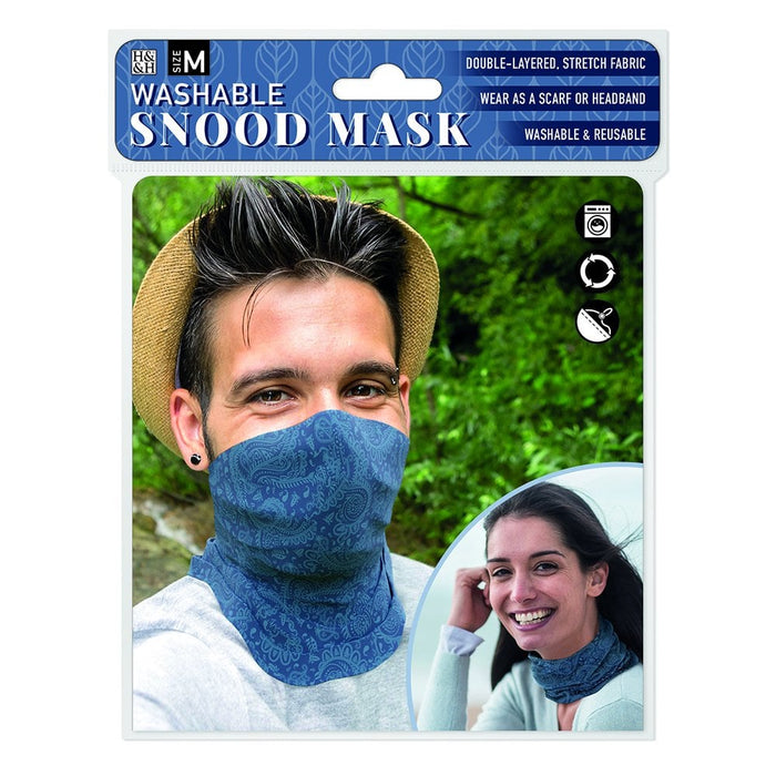 Snood Mask Dark Blue Paisley
