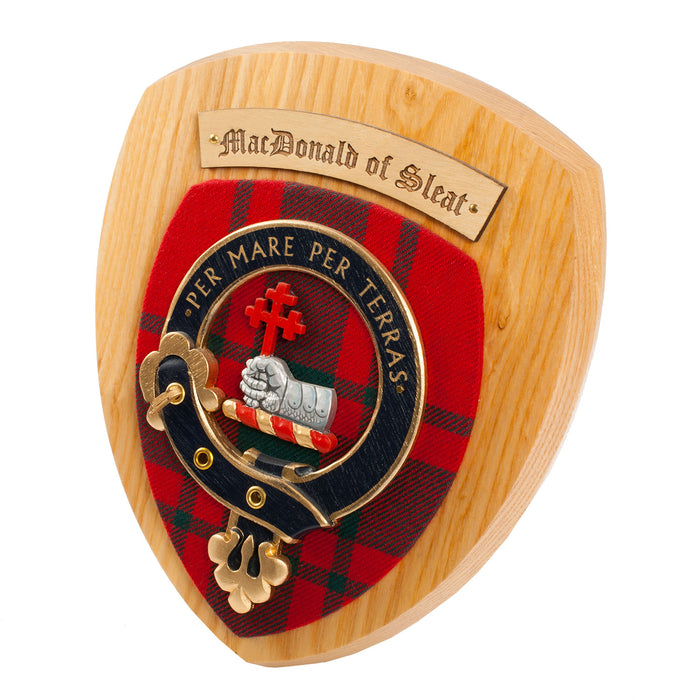 Clans Of Scotland Wooden Crested Wall Plaque Ish Tartan Crests Macdonald Of Sleat