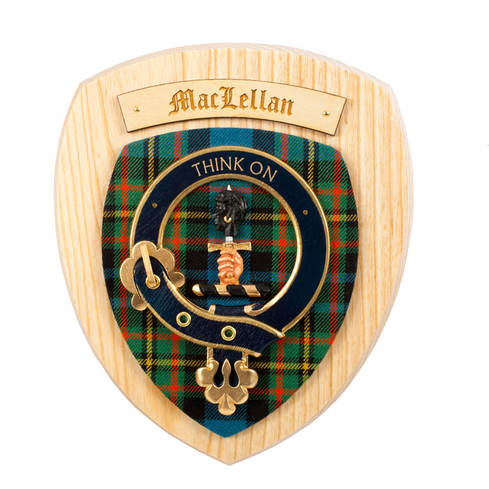 Clans Of Scotland Wooden Crested Wall Plaque Ish Tartan Crests Maclellan
